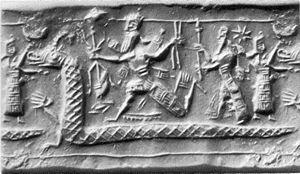 Tiamat wordt bevochten door Marduk (Babylonische zegelafdruk)